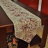 Hiendure Classic Embroidery European Style Tassel Dining Table Runners Sequined Lace Hotel Bed Coffee Table Runners 11inch98.4inch, Red
