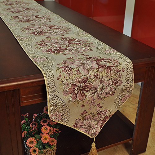 (Hiendure Classic Embroidery European Style Tassel Dining Table Runners Sequined Lace Hotel Bed Coffee Table Runners 11inch82.6inch,red )