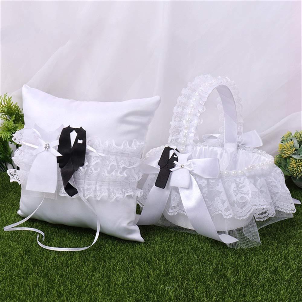 LPGK Wedding Flower Basket Womens Wedding White Ring Pillow Small Flower Basket Set Wedding Supplies Set Wedding Accessory (Color : White)