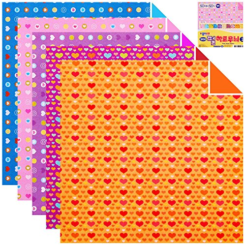 100 Sheets Double Sided Origami Paper Flower/Traditional/Quilt Pattern (Pearl Heart Pattern 1)