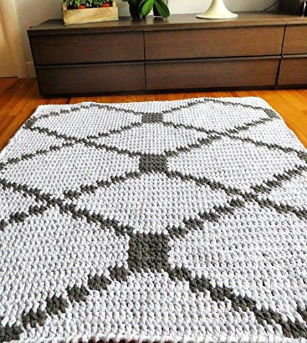 Alfombra de algodón con dibujo geométrico en color gris y blanco ...