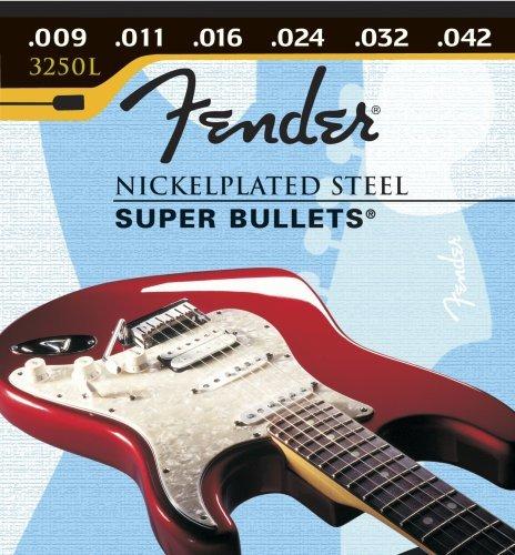 Fender Super Bullets (Fender 3250 L 9-42 Bullet End, Electric Guitar Strings)