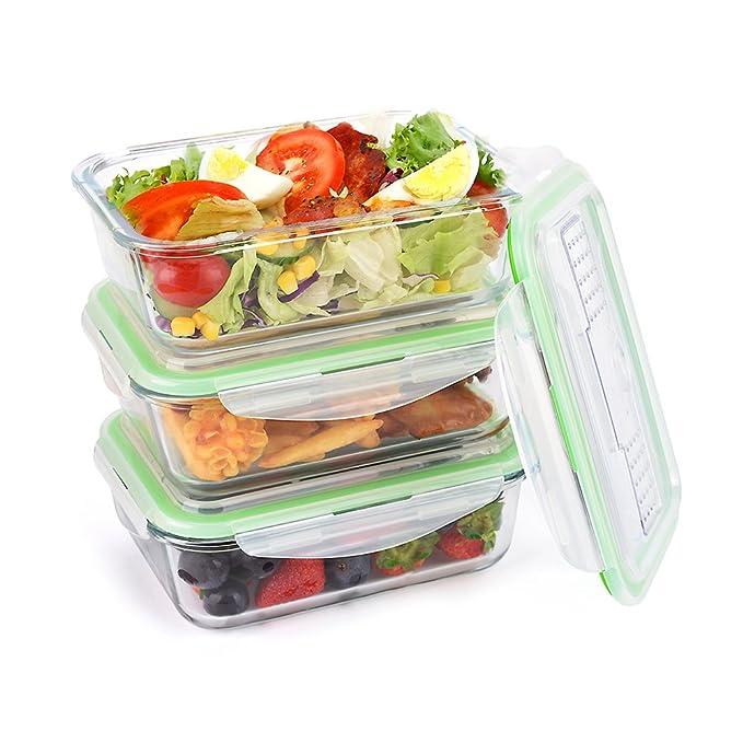 Lot de 3Boîte Hermétique symbom à verre anti-fuite 1L Lunch Box Repas Prep Food Container avec couvercle snap Locking Congélateur, Four, Passe au Lave-Vaisselle, pour micro-ondes FDA/LFGB/BPA