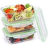 Symbom Lot de 3 Boîtes Alimentaire en Verre Boîte à Déjeuner Hermétiques 1L et Adaptées au Four, au Micro-ondes, au Congélateur et au Lave-vaisselle Couteau et Fourche Réutilisables - Sans BPA