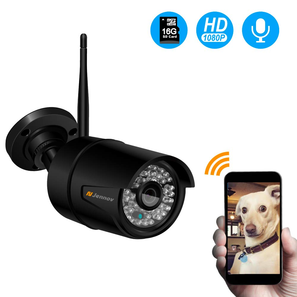 Jennov Wireless WiFi IP Security Camera Outdoor HD 1080P CCTV Home Surveillance Audio Pre-Installed 16G MicroSD Card,Onvif Motion Detection,Night Vision