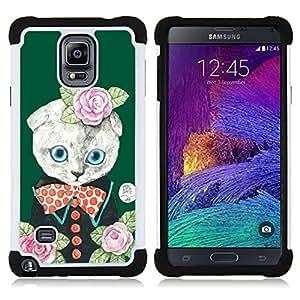 /Skull Market/ - Cat Cartoon Cute For Samsung Galaxy Note 4 SM-N910 N910 - 3in1 h????brido prueba de choques de impacto resistente goma Combo pesada cubierta de la caja protec -