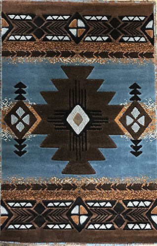 Southwest Native American Area Rug Blue Brown Design C318 (3 Feet 10 inch X 5 Feet 3 inch) (Blue Rug Green Brown)