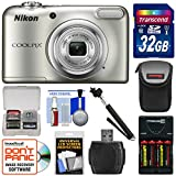 Nikon Coolpix A10 Digital Camera (Silver) with 32GB Card + Batteries & Charger + Case + Selfie Stick + Kit