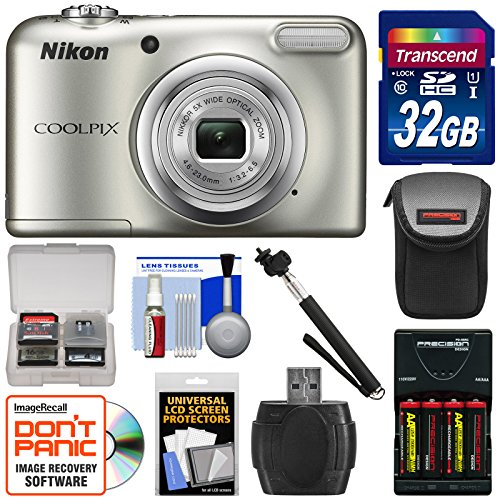 Nikon Coolpix A10 Digital Camera (Silver) with 32GB Card + Batteries & Charger + Case + Selfie Stick + Kit by Nikon