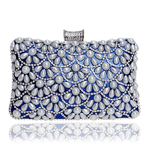 Bolso de la boda de la tarde del monedero de la perla del embrague de las mujeres (Color : Black) Blue