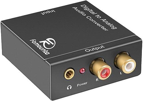 Convertidor de audio digital a analógico, Famounte Convertidor analógico digital Caja coaxial Datos de adaptador DAC