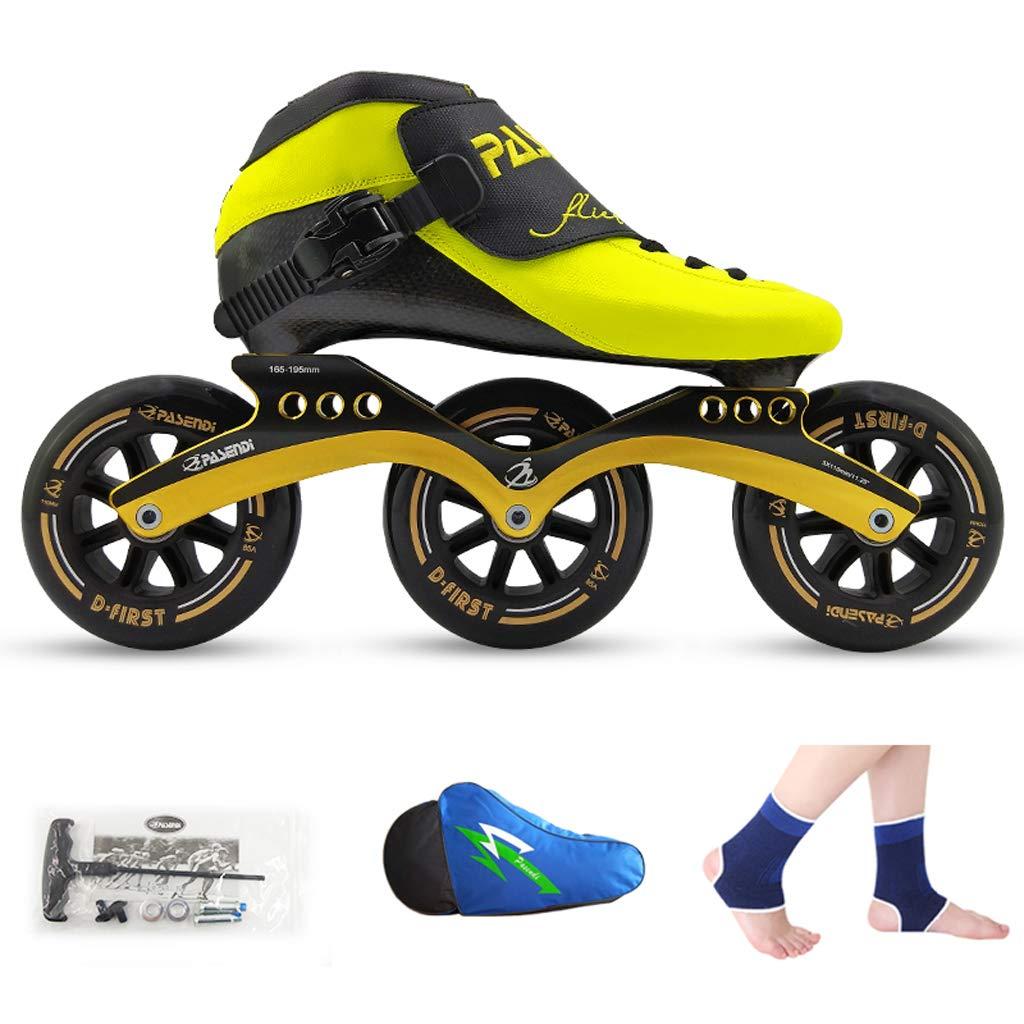 WEN ローラースケート、 スピードスケート靴、 レーシングシューズ、 子供の大人のプロスケート、 男性と女性のインラインスケート ローラースケート Inline skate (色 : Black shoes+yellow wheels, サイズ さいず : 45) B07QZH37WN 34 Yellow shoes+black wheels Yellow shoes+black wheels 34