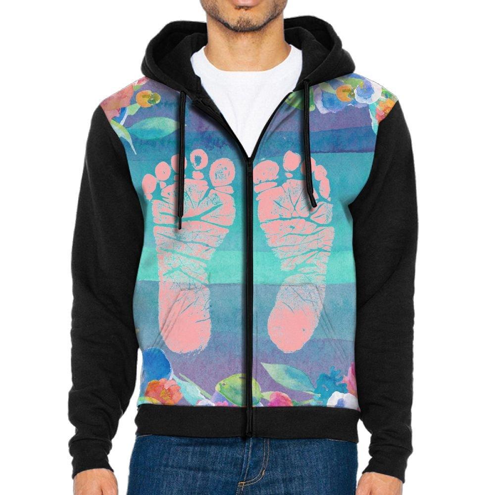SESY Mens Hoodie Long Sleeve Sweatshirt Baby-Foot Cool Printed Hooded Pullover Pocket Black