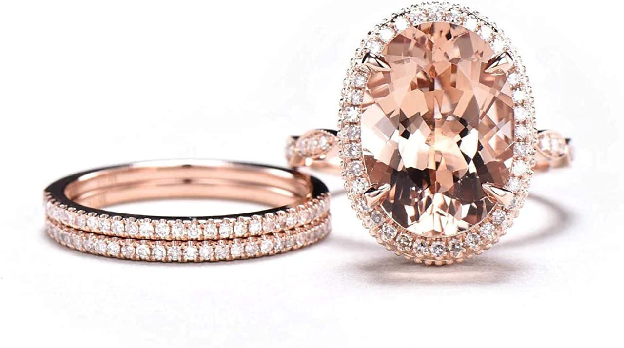 Dividiamonds 6 CT Oval Cut Pink Morganite D//VVS1 Diamond Engagement Ring Set 14K Rose Gold Plated Claw Prong 10x14mm