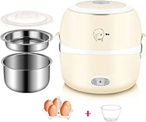 QSMGRBGZ Rice Cookers (1.3L/200W/220V) Intelligent Steamer,Mini Multi-Cooker with Measuring Cups/Egg Rack,for Cooking Steaming,Hot Rice,Soup,Khaki