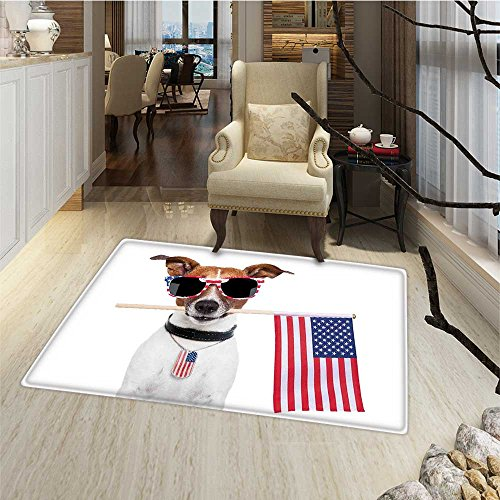 Dog Lover Decor Door Mat outside American Dog with USA Flag