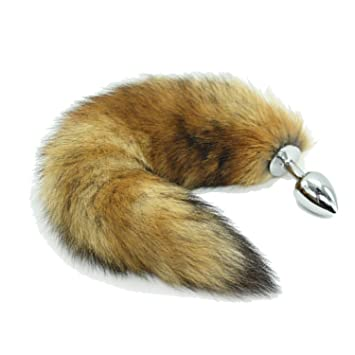 6cb672d566f PINGMINDIAN Permanently Brown Faux Fox Tail Stainless Steel Butt Plug Cat  Tail Anal Plug Fox Tail