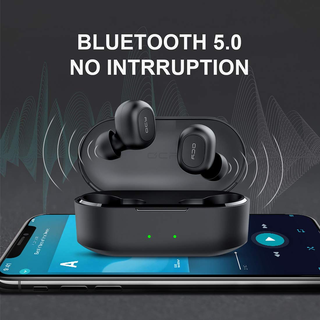 QCY T2C True Wireless Earbuds with Charging Case, 5.0 Bluetooth Headphones, Black