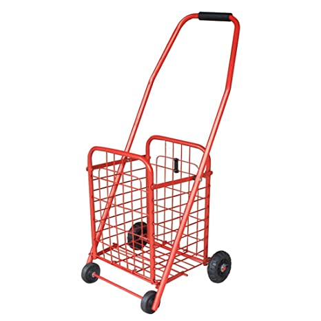 Amazon.com: Shopping Cart Small Pulling Cart Trolley Stairs Shopping Cart Portable Folding Old Hand Carts Trolley Luggage Trailer (Color : Red, ...