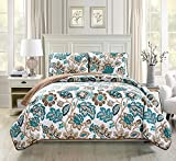 teal and brown bedding  King/California King 3pc Quilted Bedspread Set Oversized Coverlet Floral Brown Teal White New