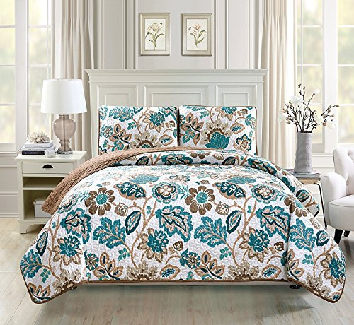 Linen Plus King/California King 3pc Quilted Bedspread Set Oversized Coverlet Floral Brown Teal White New (Quilted Sets Bedspread)