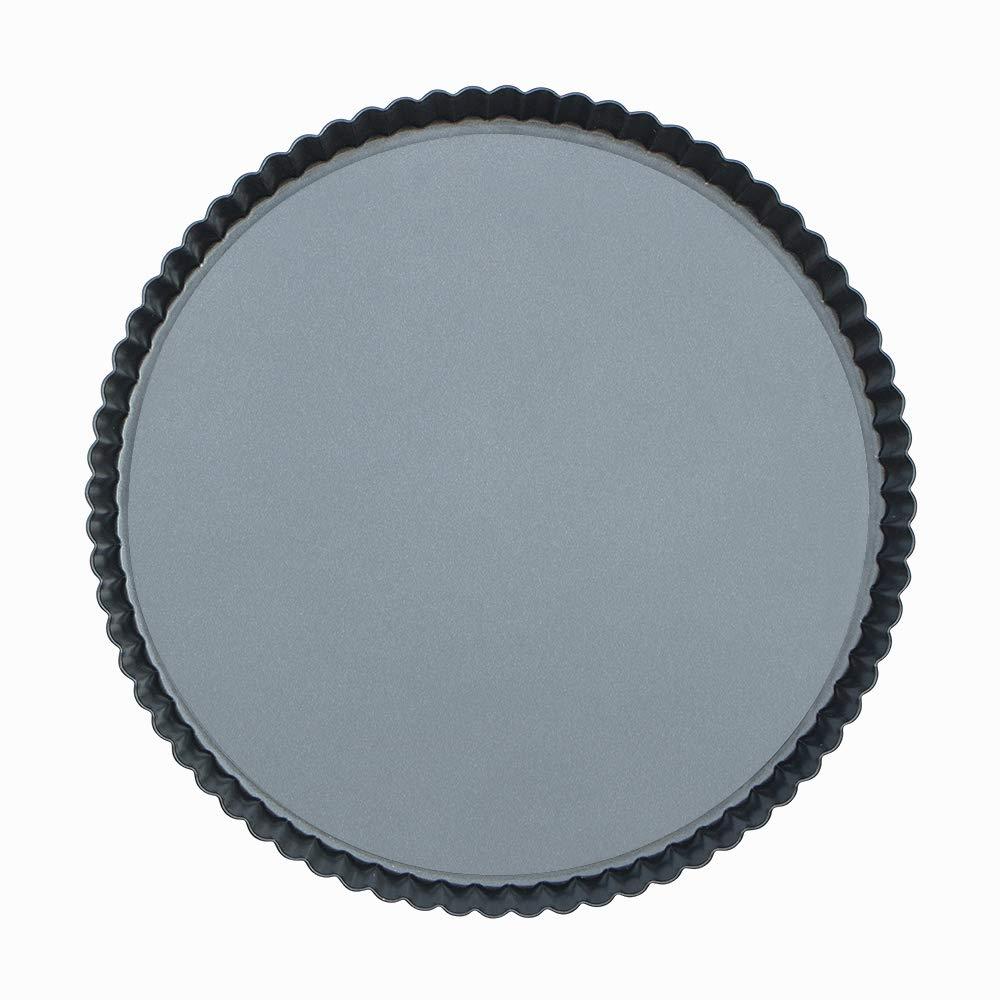 Webake 11 inch Tart Pan Heavy Duty Quiche Pan Removable Bottom Nonstick Round Pie Pan by webake
