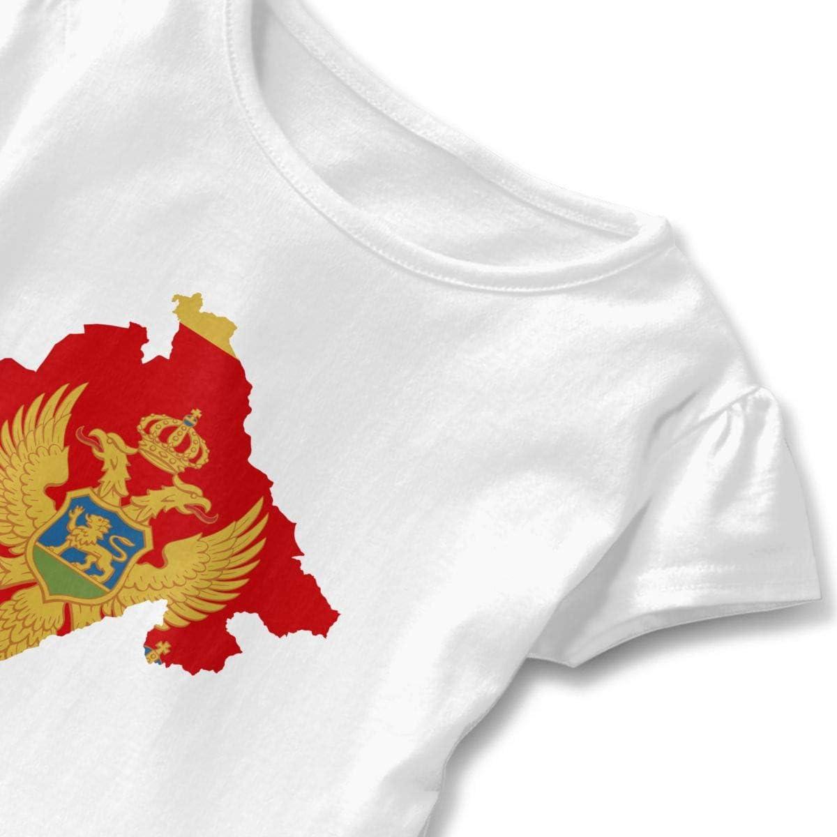 HZamara/_H Toddler Girls Flag Map of Montenegro Short Sleeve Ruffled T-Shirt Tops 2-6 Years