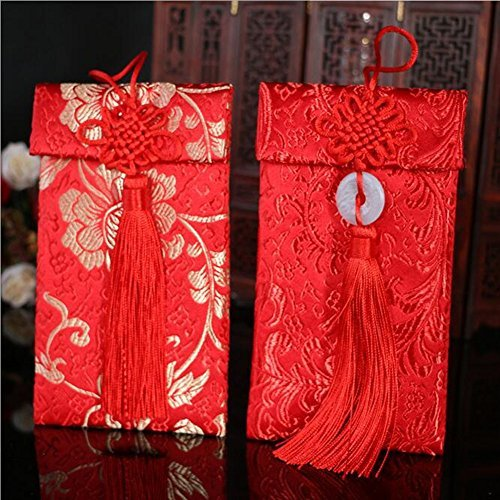 Chinese Element Festive Silk Red Envelopes Gift Card Wedding Red Money Pockets 2pcs
