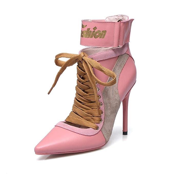 SMILINGGIRL Botines De Piel Para Mujer - Tacón Puntiagudo,Color De Costura, Zapatos De Tacón Alto De Encaje Y Botas De Desnudos - Comfort(Rosa): Amazon.es: ...