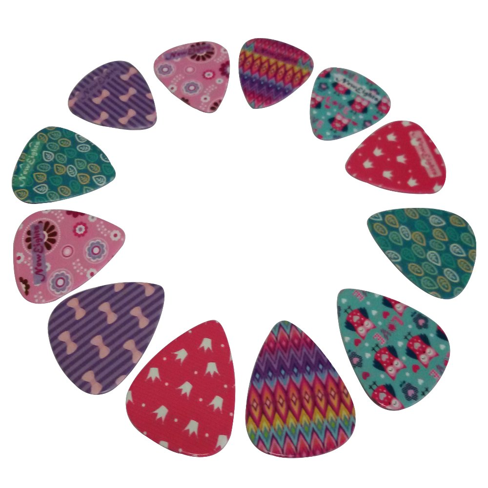 guitar picks set for girls themes medium size celluloid 12 pack unique colorful designs for. Black Bedroom Furniture Sets. Home Design Ideas