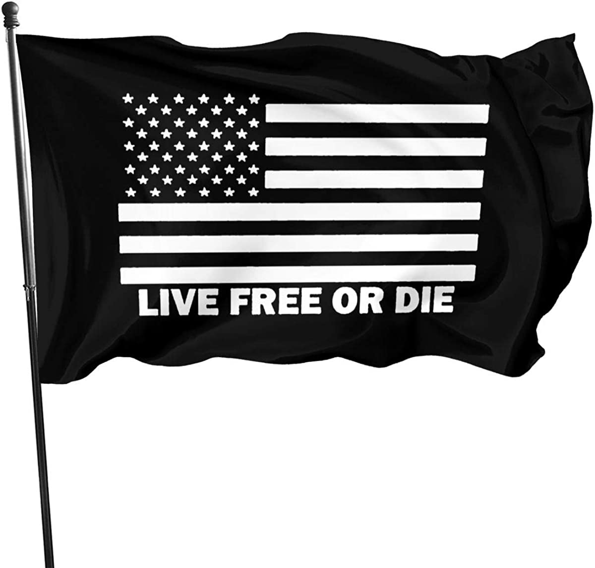 Amazon Com Live Free Or Die American Flag 3x5 Ft American Flag Outdoor Banner Family Banner Garden Banner Black Clothing