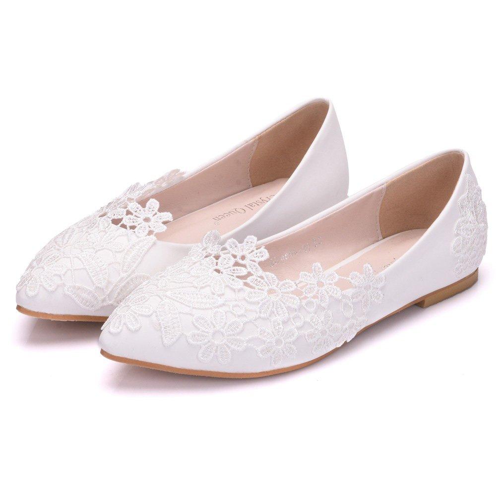 Sogala White Wedding Shoes for Bride Lace Appliques Comfort Bride Shoes Wedding Bridal Dresses Flat Heels