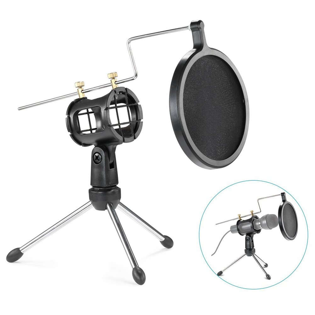 Foldable Desktop Microphone Tripod Stand With Shock Mount Mic Holder For Recording And Double Net Pop Filter