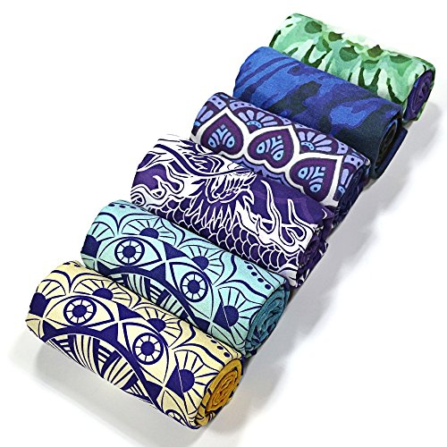 FavoBodinn non slip yoga Towel Microfiber printed Perfect as hot yoga mat towel travel Pilates Bikram Fitness Swimming Camping Table Bath Beach thin Mat Towels with grip Multiple-choice 72 x 24/26
