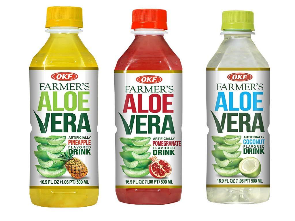 OKF Farmer's Aloe Vera Drink, Pomegranate (16.9 Fl Oz, Pomegranate, Pineapple, Coco)