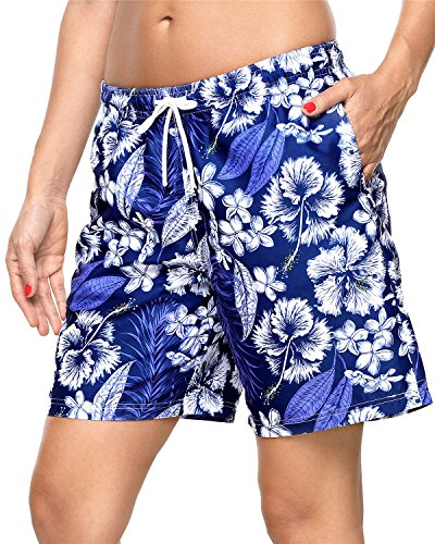 ALove Floral Boardshorts for Womens Surf Shorts Swimwear Drawstring Swim Shorts ()
