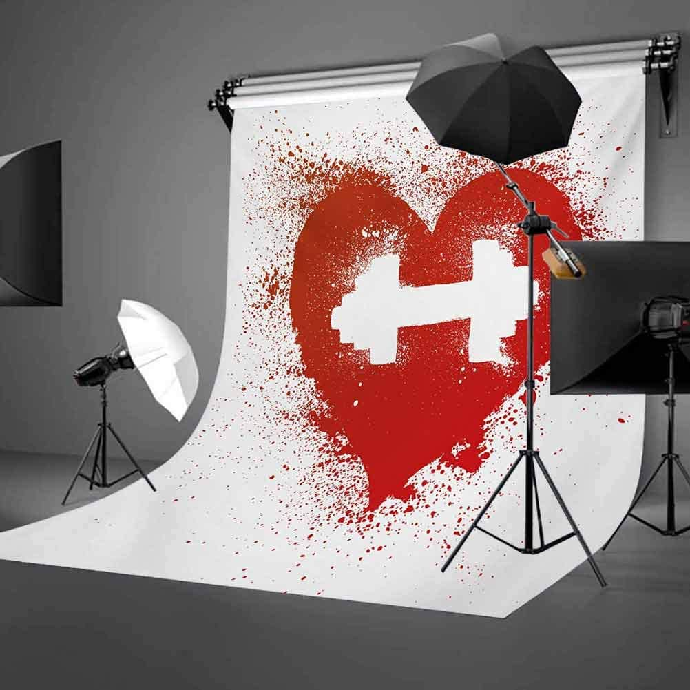 Red Heart Icon with Stains Splashes Dumbbell Grunge Artistic Love Valentines Background for Child Baby Shower Photo Vinyl Studio Prop Photobooth Photoshoot Fitness 10x15 FT Photography Backdrop