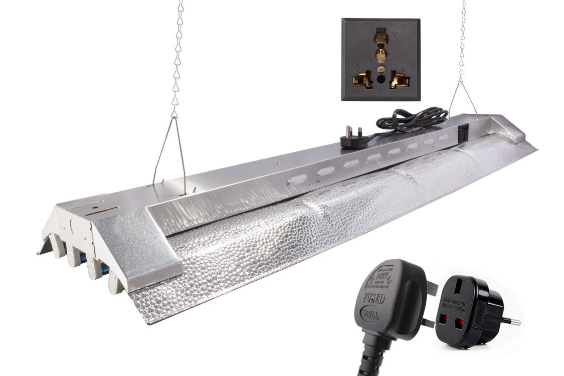 Durolux T5 230 Watt Grow Light 1.2 Meters 4 Bulbs DL844K HO Fluorescent Hydroponic Bloom Veg Daisy Chain with Tubes