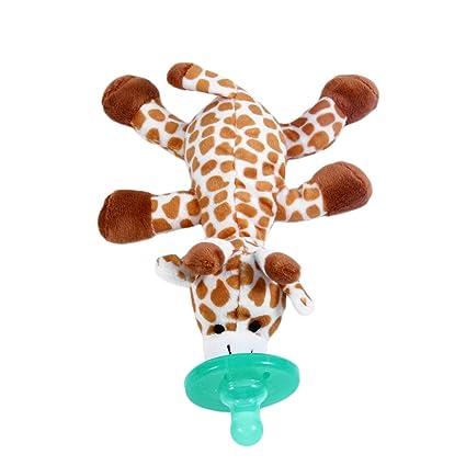 Lindo divertido bebé recién nacido de grado alimenticio de silicona de dibujos animados Animal chupete con suave peluche de juguete BPA gratis muñeco ...