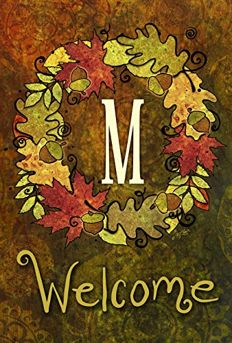 Toland Home Garden Fall Wreath Monogram M 12.5 X 18 Inch Decorative Autumn Leaves Welcome Initial Garden - Garden Flag Autumn Leaves