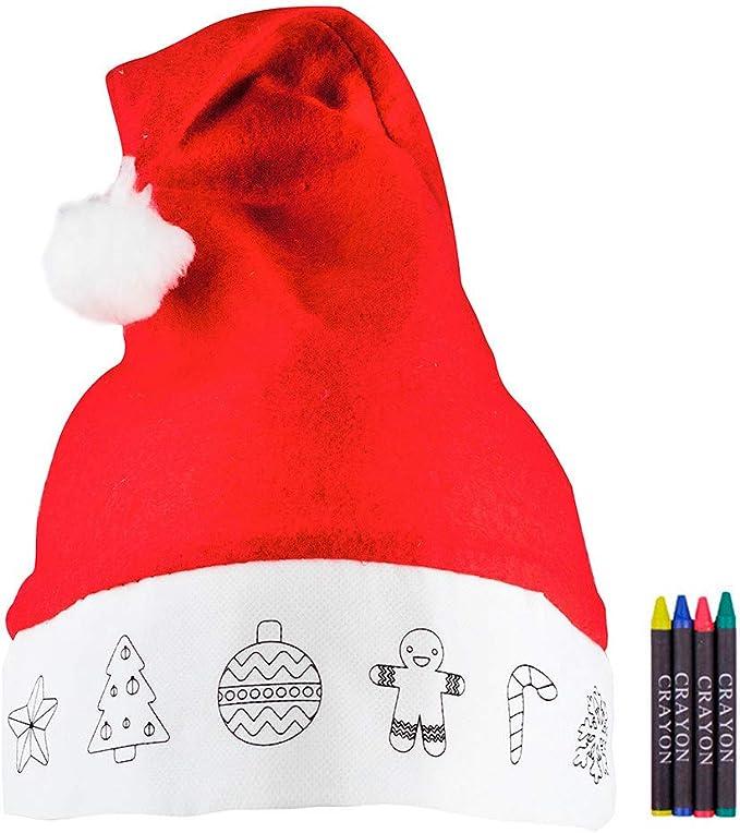 Gorro de Navidad para niños con Dibujos y Ceras para Colorear ...