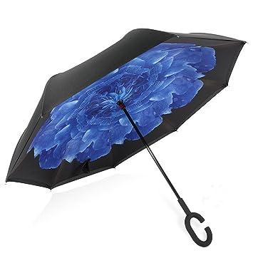 manfâ cortavientos Reverse plegable doble capa paraguas invertido con forma de C mango, Self Standing
