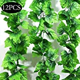SPECOOL 10 Strands Artificial Garland DecorationLeaves Garland Artificial Plants, 12 Packs Artificial Hanging Plants Fake Vines Ivy Leaves Greenery Garland for Wedding Party Festival Decor
