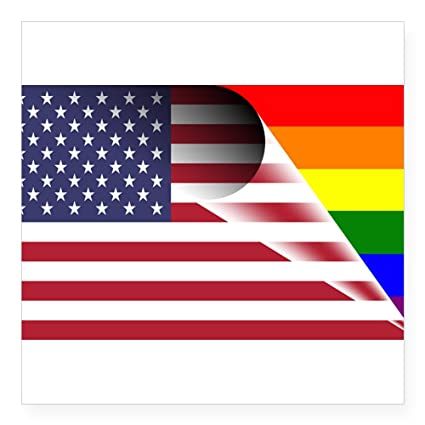 863d3cbb4b7d CafePress Flag of U.S.A. Gay Pride Rainbow Square Bumper Sticker Car Decal