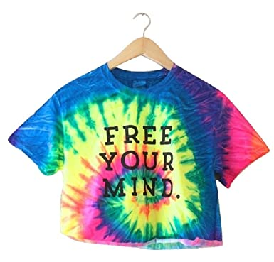 50a004f11964c Free Your Mind. Bright Rainbow Tie-Dye Graphic Cropped Tee at Amazon ...