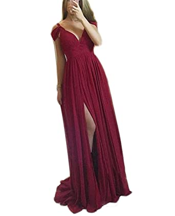 3b030ad2ea4 Veilace Women s A Line Prom Gowns Off Shoulder Split Long V neck Chiffon  Evening Dress .. .. at Amazon Women s Clothing store