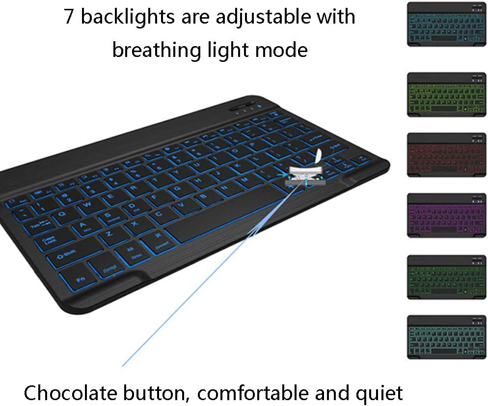 Wireless Bluetooth Keyboard Ultra-Thin Ultra-Portable Universal 7-Color Backlight Breathing Marquee Bluetooth 3.0 Keyboard Built-in Rechargeable