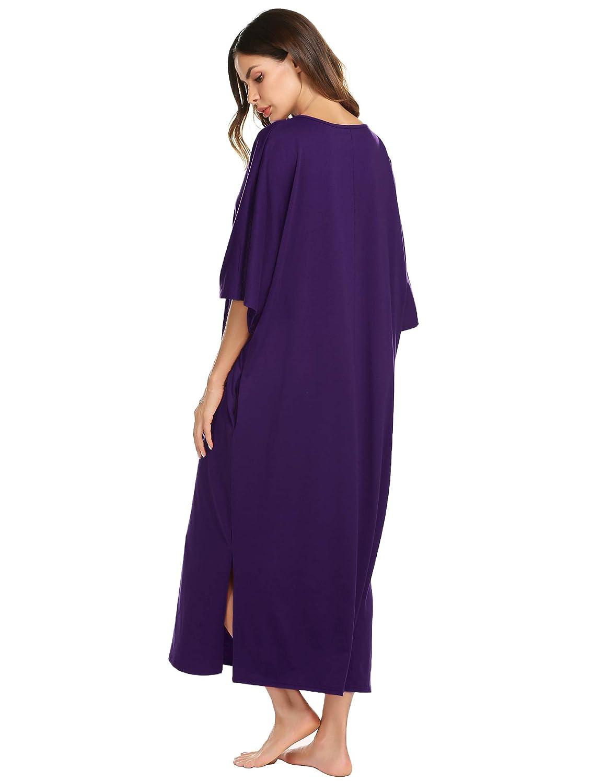 Womens Round Neck//V Neck Loungewear Oversized Pajama Loose Pockets Long Sleep Dress Ekouaer Nightgown