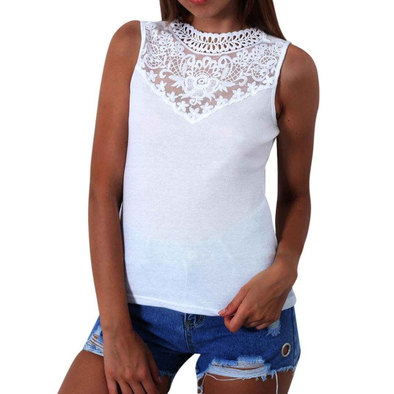 TIFIY Frauen Mode Spitze Patchwork Dünne Weste Bluse T-Shirt Sleeveless Beiläufige Baumwolle Tops TIFIY-tops-0604