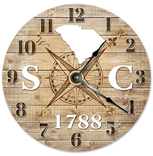 SOUTH CAROLINA CLOCK Established in 1788 Huge 15.5″ to 16″ COMPASS MAP RUSTIC STATE CLOCK Printed Wood Image For Sale